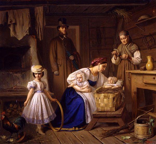 Mamka, której udało się dostać do dobrej rodziny, opuszczała swoje własne dziecko, by wykarmić niemowlę pracodawczyni. Obraz przedstawia odwiedziny mamki u jej własnego dziecka.