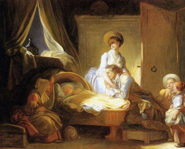 W zamożnych rodzinach najczęściej opieka nad niemowlęciem spadała w całości na mamkę, a rodzice odwiedzali malca od czasu do czasu.