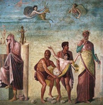 Ofiary z ludzi nie były obce starożytnym Grekom. Powyżej - fresk z Pompei przedstawiający poświęcenie Ifigenii.