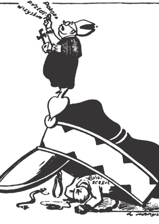 """Kolejny przykład polskojęzycznej bolszewickiej propagandy. Tym razem z """"Trybuny Radzieckiej"""". Ilustracja z książki Nikołaja Iwanowa """"Zapomniane ludobójstwo″ (Znak Horyzont 2015)."""