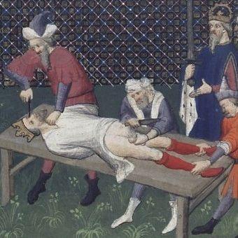 Nieszczęsny Wilhelm III na łożu tortur. Wbrew obrazowi z epoki miał wówczas niespełna 10 lat...