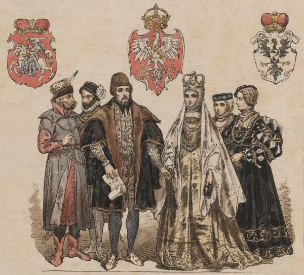 Barbara w towarzystwie męża i dworu w chwilę po koronacji. Ilustracja Jana Matejki.